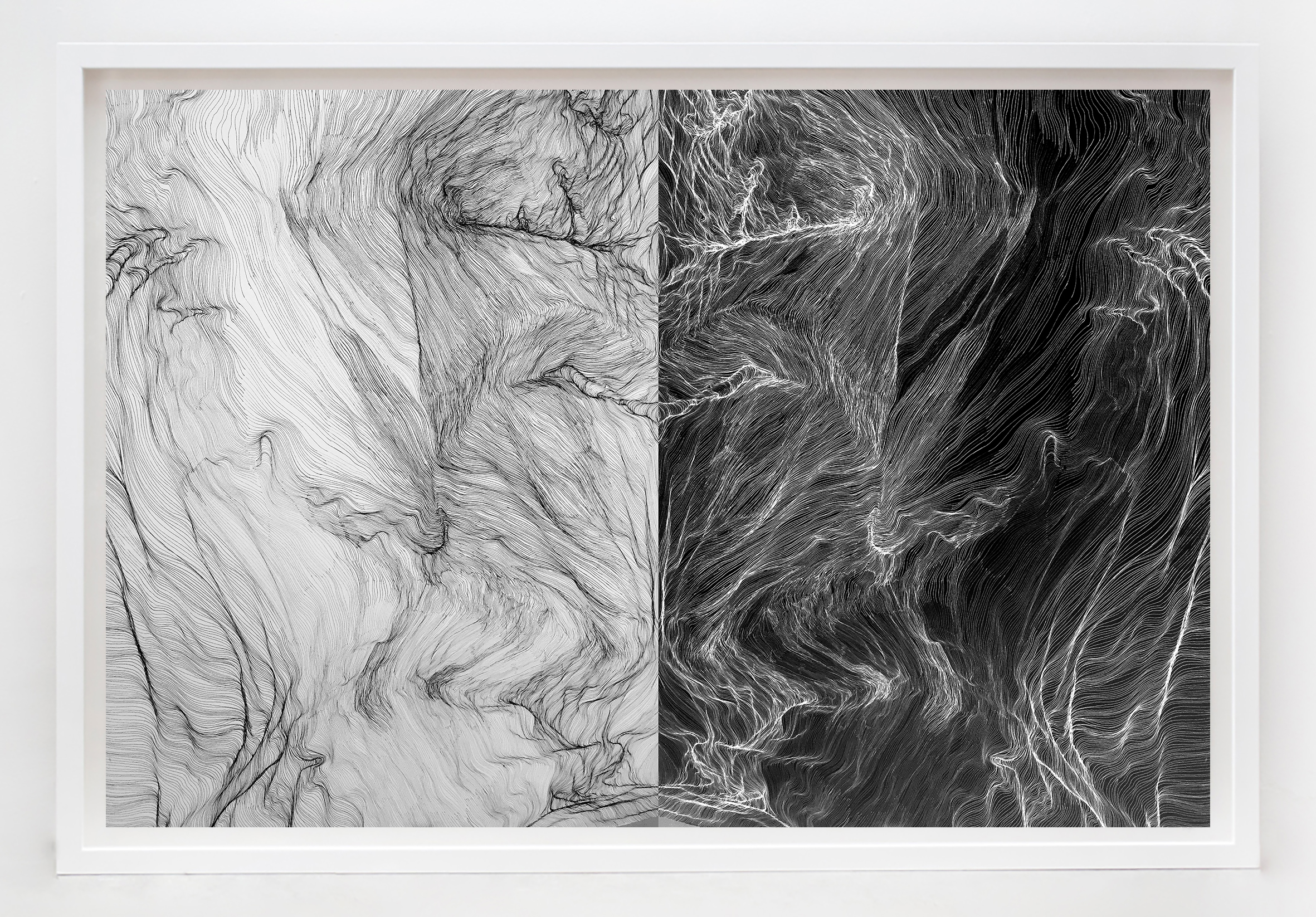 'Cartography of Line', ink on paper,110 x 74 cm, (2016)