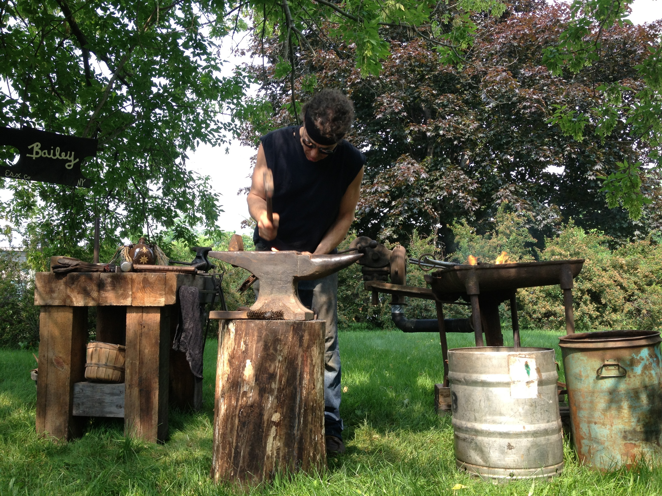 While making a knife blade from an old file, Russ enlightened us on the relative merits of different kinds of steel and iron, the ease of setting up your own small forge on a farm, and the vast superiority of old tools. A fascinating way to end a fascinating weekend.