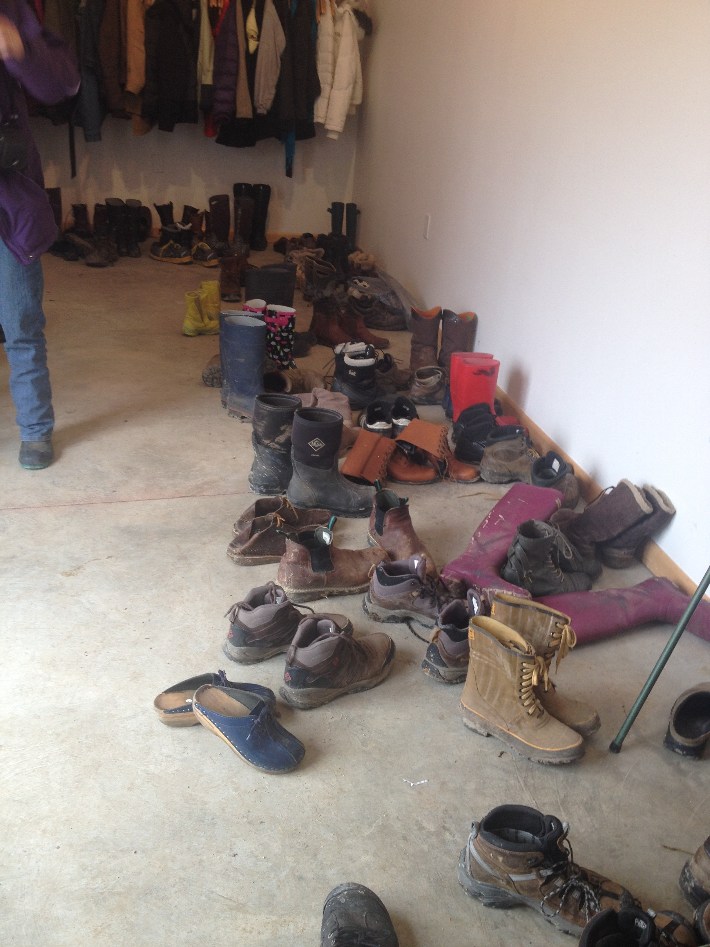 When farmers gather, boots abound.