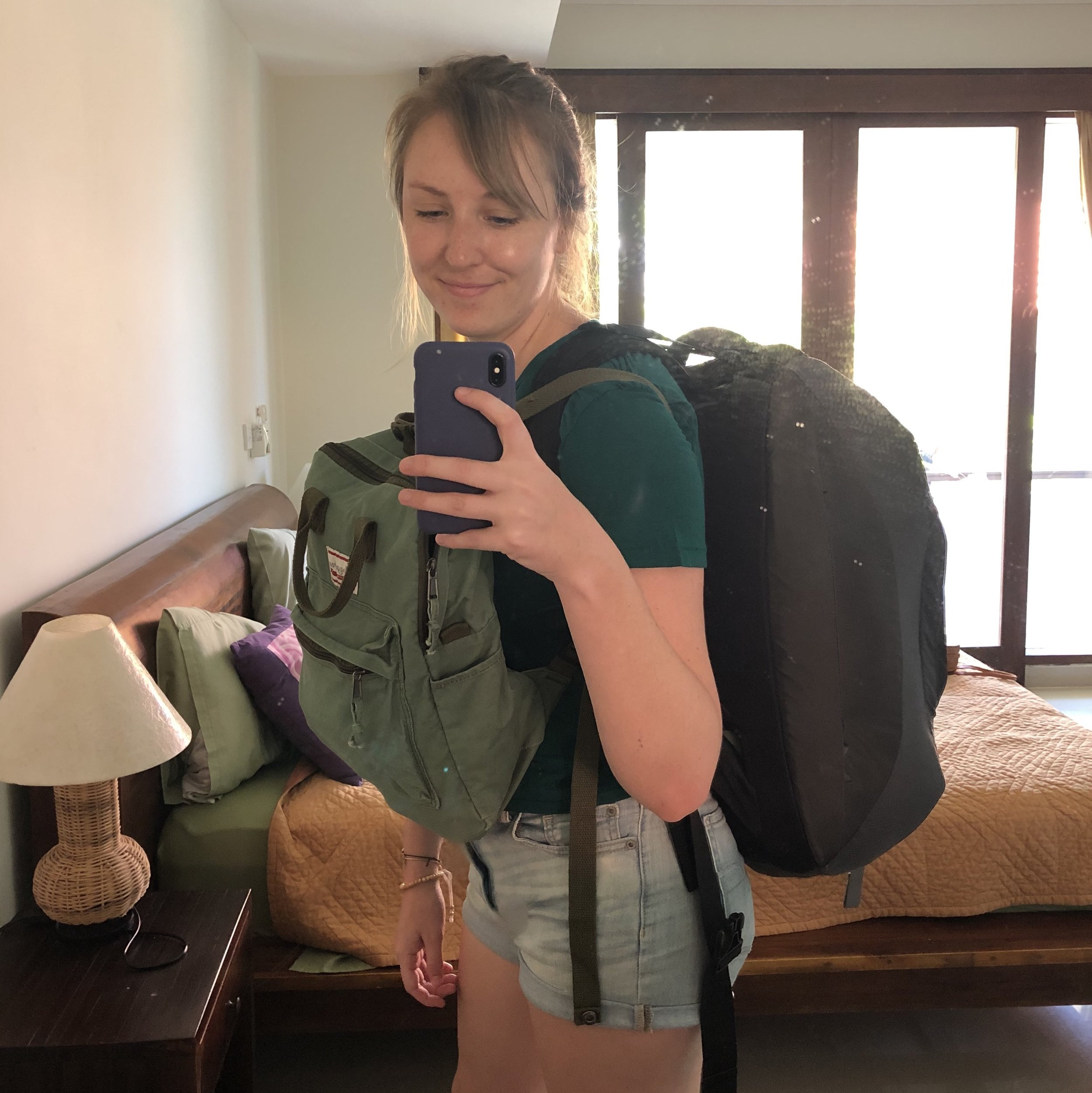 In Ubud, Bali, getting ready to go to the airport in Denpasar. Not pictured: my cross body bag