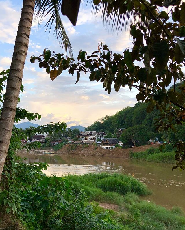 I had such a nice time last week volunteering for a family-run jewelry store in Laos. ⁣ ⁣ I painted wooden signs during the day and taught some very casual English conversation in the evenings. ⁣ ⁣ My favorite part was evening time. Usually 5-8 of us crowded together on a small and sloping, open air balcony over the river, eating slow meals, watching the sun set, and then watching whatever English movie we could find on TV, with bellies full of sticky rice. ⁣ ⁣ Then sleeping in my very romantic and breezy river bungalow. This was my favorite accommodation I've stayed at so far, except for...well, my tolerance for spider size has drastically increased after living there 😂😳😭!