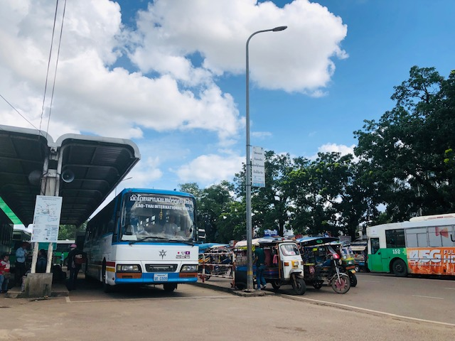 Awaiting a bus to Thailand in Vientiane, Laos.