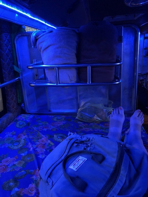This is the size of the bed when I accidentally took a sleeper bus alone. This is literally the width of a twin! For two people…