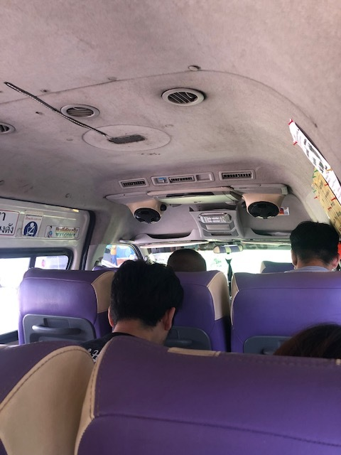 VERY cramped 4 hour minibus ride to Bangkok with my dad. At one point, the driver was going down the wrong side of the highway into oncoming traffic.