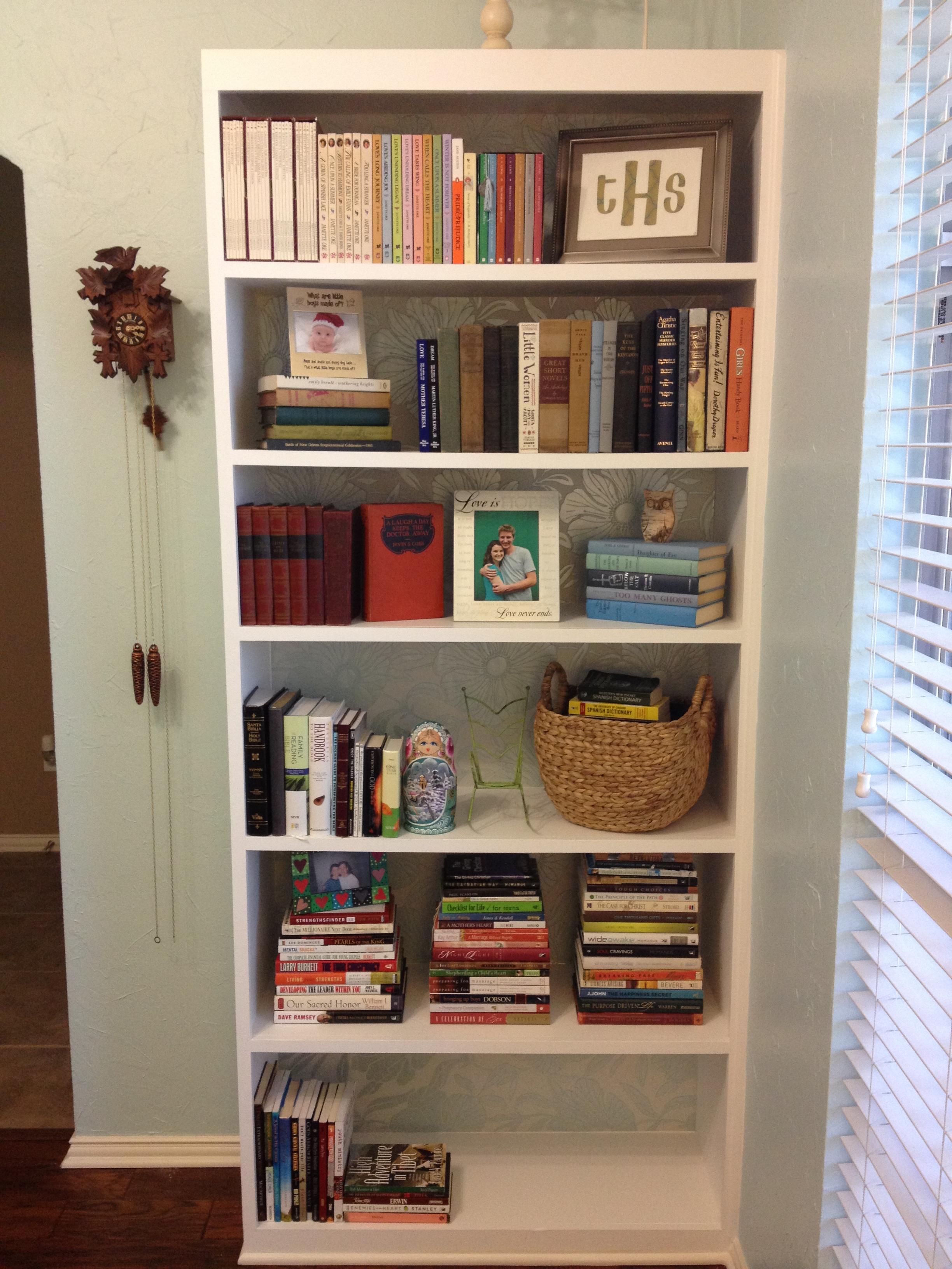 Semi-completed bookcase arrangement.