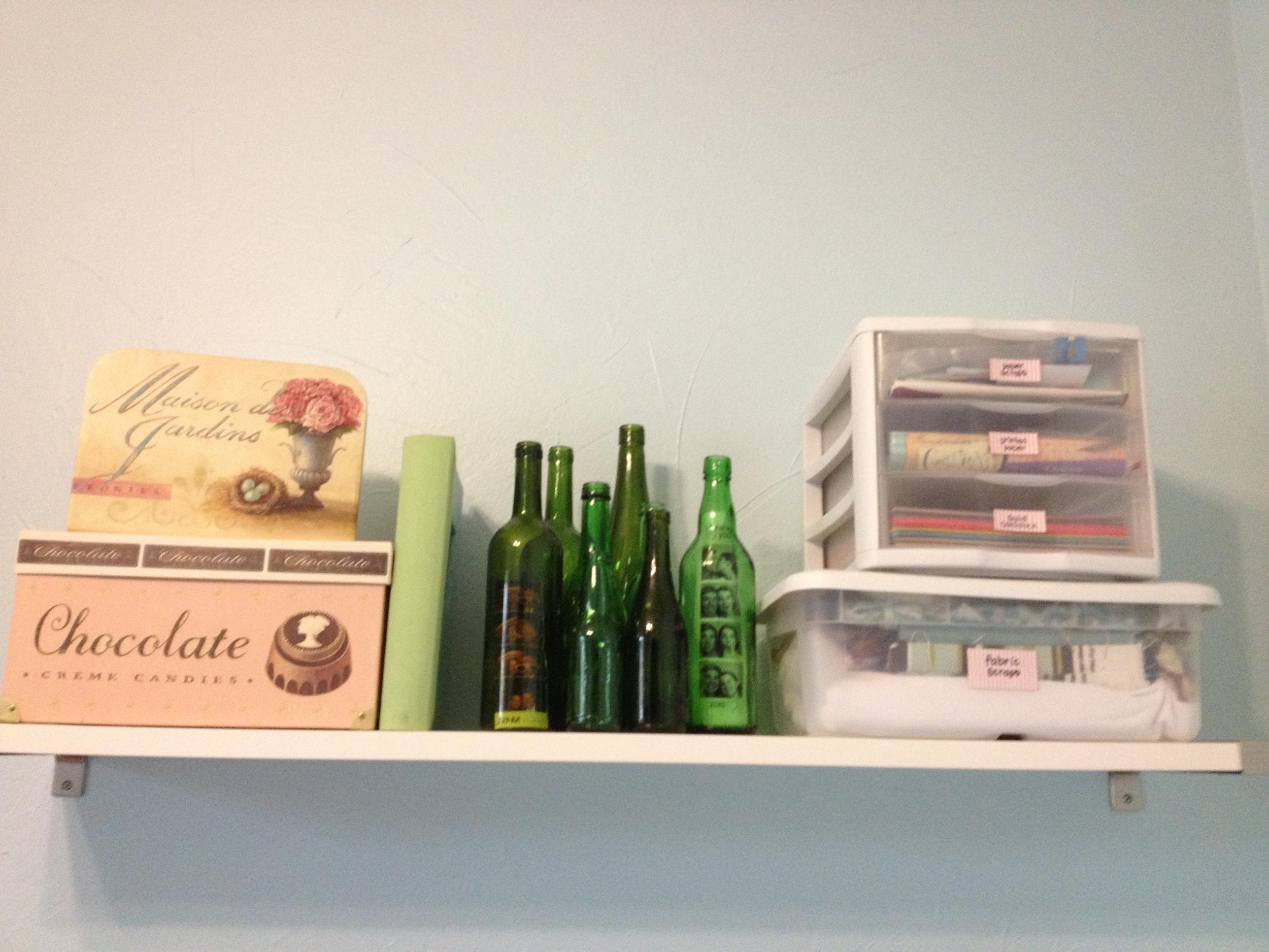 Bottle cluster on my office shelf.