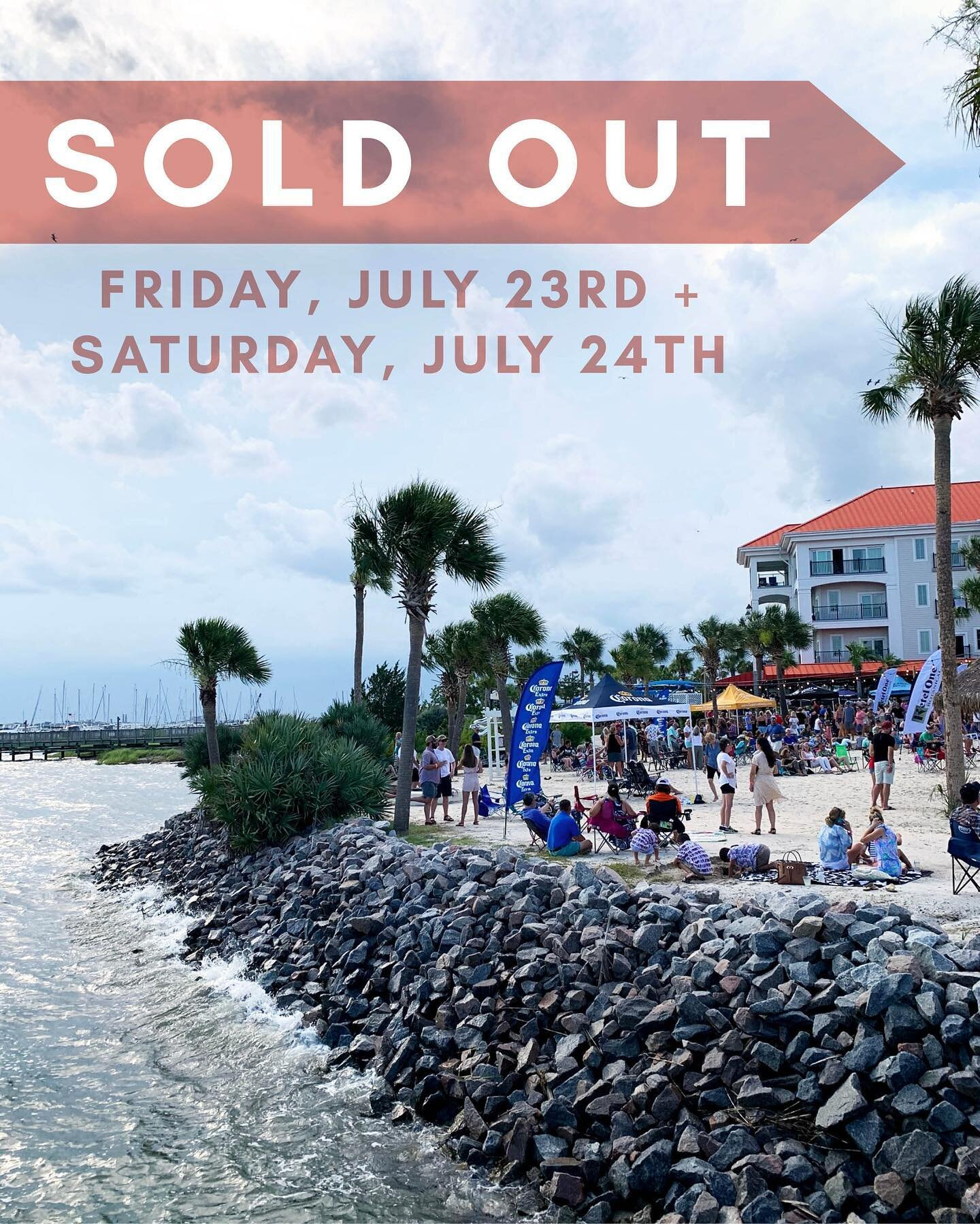 This weekend's Party at the Point shows with @mrhollandsoats (7/23) and @thedubplates (7/24) are SOLD OUT!   Go ahead and get your tickets to our LAST Party at the Point show with @rockthe90sofficial on 7/30 via the link in our bio!!  Special thanks to @cheerssc @ketelonebotanical @ketelone @corona @modelousa @thebridgeat1055 @my98rock @redsicehouse @starlingchevroletmp @charlestonharborresort @charlestonharbormarina @chasharborfishhouse