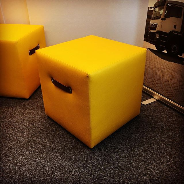 Kalustoratkaisut (Equipment solutions) is small, but efficient leasing company, who's logo has got three cubes, which were naturally role models for these seats. Made by Restaurointi&Verhoilu Saarinen, designed by Happy Branding Company. #Kalustoratkaisut #happybrandingcompany #design #branding