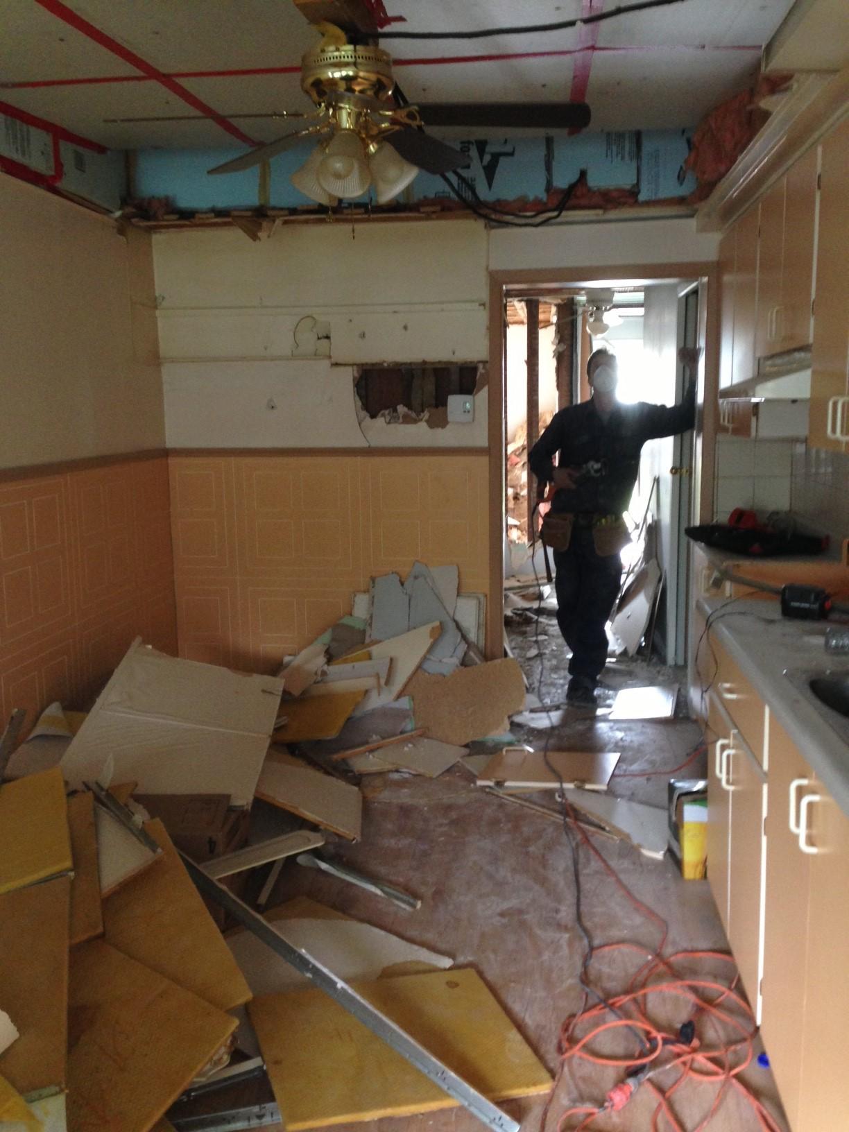 Kitchen being dismantled