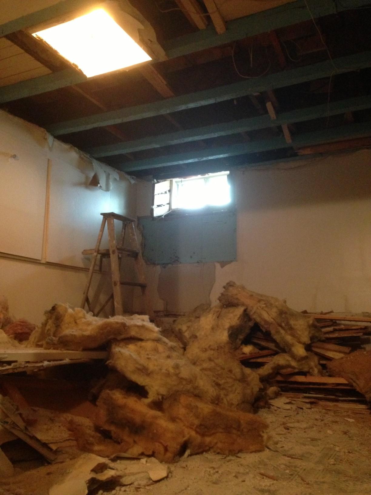 Exposing basement wood beams