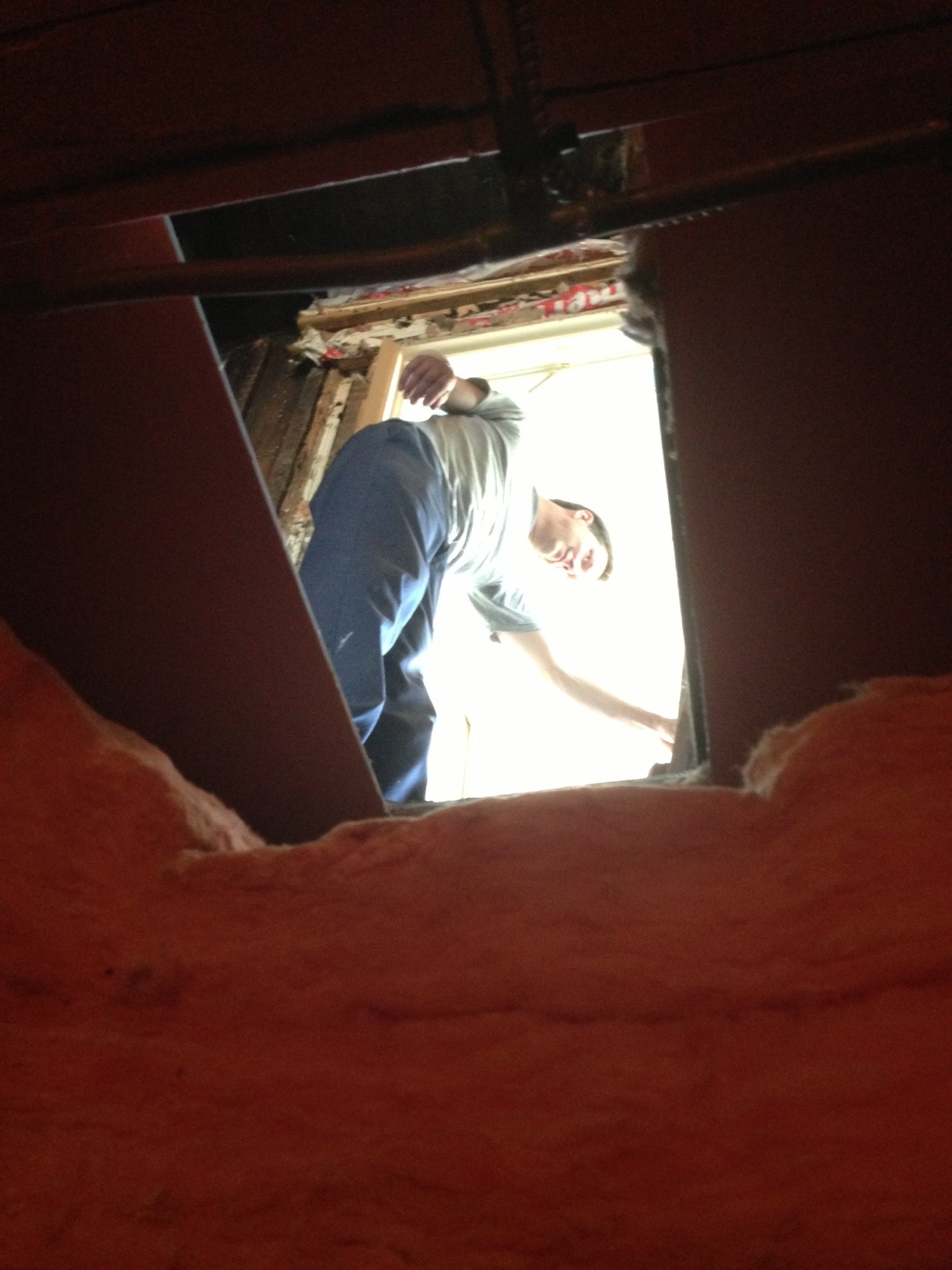 "From the ""wine cellar"" looking up at kitchen - trap door removed."