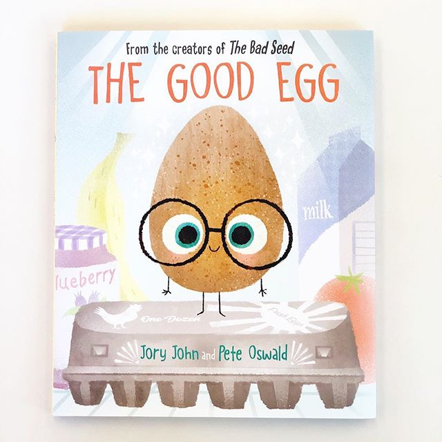 "Friday favorites! The illustration really gets me with this one—it's so clean and detailed and full of life. A follow-up to ""The Bad Seed"" which is a definite favorite, ""The Good Egg"" by @jory_john with illustration by @peteoswald, is for all for all of those kids (and adults) who stress themselves out over control and perfection. ME. The Good Egg gradually learns how to achieve balance on a little adorable journey of recovery. And those end-papers! A good choice for an Easter gift, if you're going secular. #fridayfavorites"
