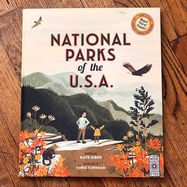 "Found the coolest book on our trip the desert! ""National Parks of the U.S.A."" by @sibereye with illustration by @turnhamator highlights the flora and fauna of the United States' 21 national parks. The illustration is killer and the facts are super fun! Ignore the publisher's silly age recommendations though. Kids younger than 8 can definitely enjoy this. #nationalparks"