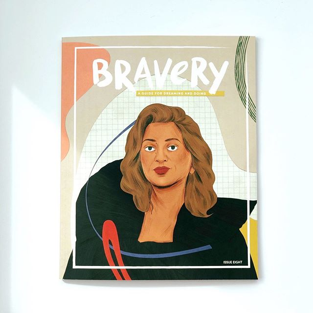 I've been a tad bit secretive about some of the projects I've been working on over the summer but I'm so excited to talk about this one now. I'm thrilled to be a new addition to @bravery_mag's little team of writers! My work isn't in this particular issue (#8 highlighting innovative Iraqi architect, Zaha Hadid) but when I got #8 in the mail it was just so good I couldn't wait and now I'm spilling the egg basket. If you have a child under 12 and don't have a subscription to this gorgeous magazine, I highly recommend it. They are doing amazing work, featuring brave and brilliant women who overcame personal and societal struggles to become real role models for generations to come. Get it. No, really. Cover art by @manjitthapp.