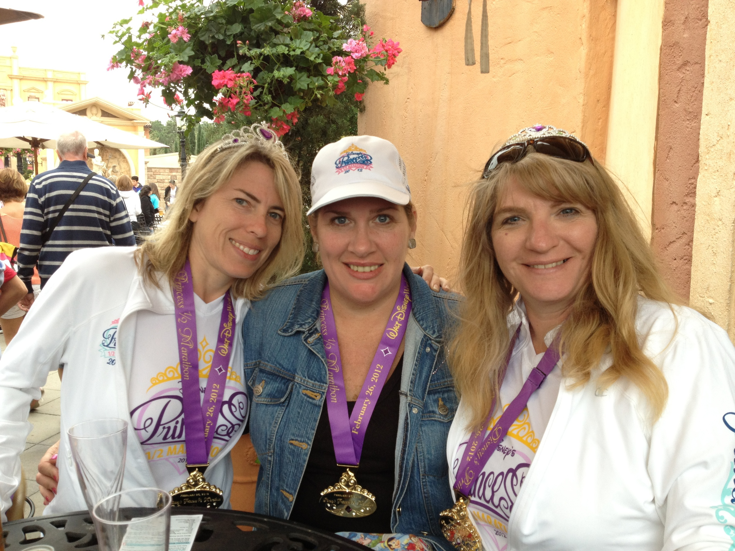 The best part of any race - the post race celebration with amazing friends! Here I am in Epcot with Susie and Diana sharing a toast to our success.