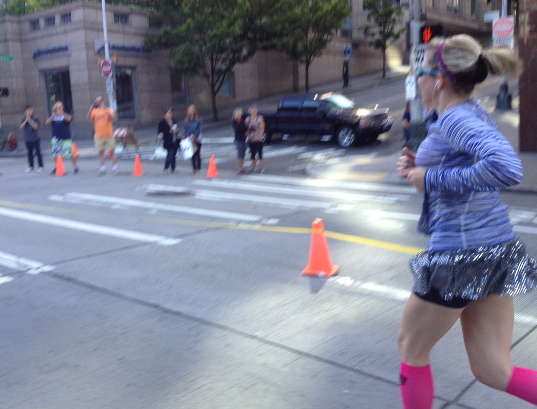 Greg in the orange shirt and Scott in the blue shirt around mile 11