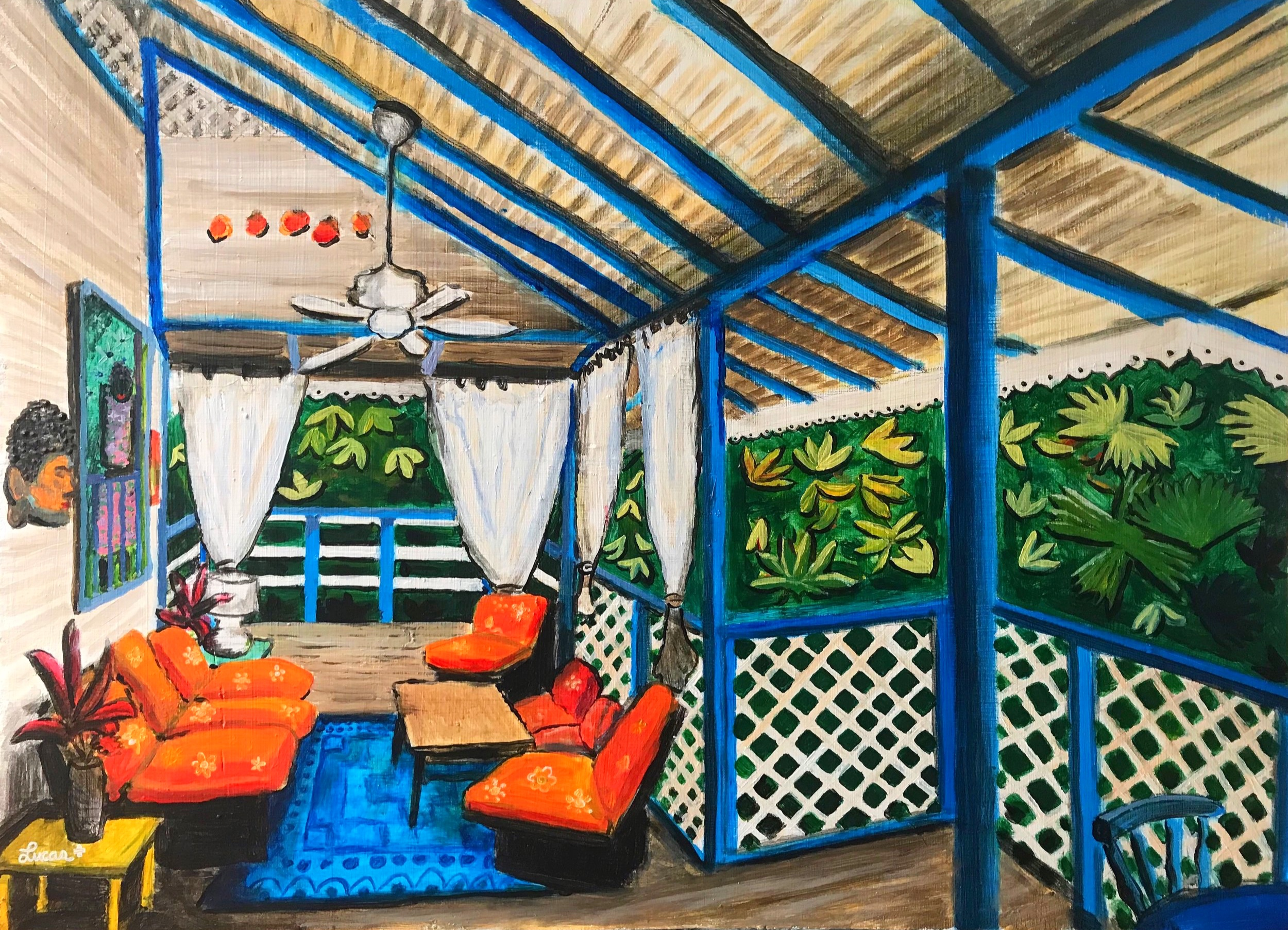 """living room in costa rica"" 2018 acrylic+canvas 20x30"""