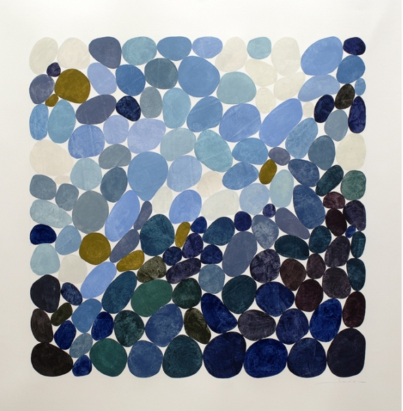 "Nancy Simonds: Into the Shoals - gouache on paper, 42"" x 42"""
