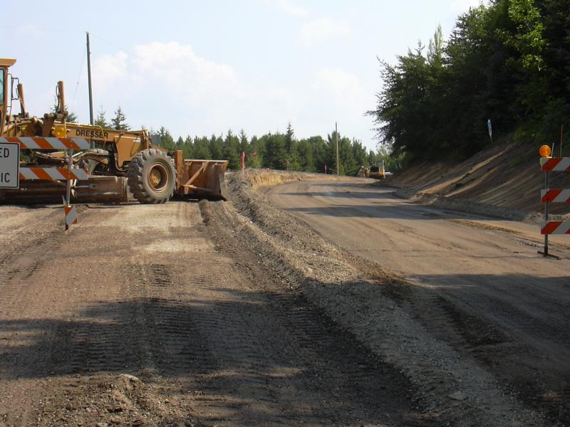 Road construction underway by the leelanau county road commission.