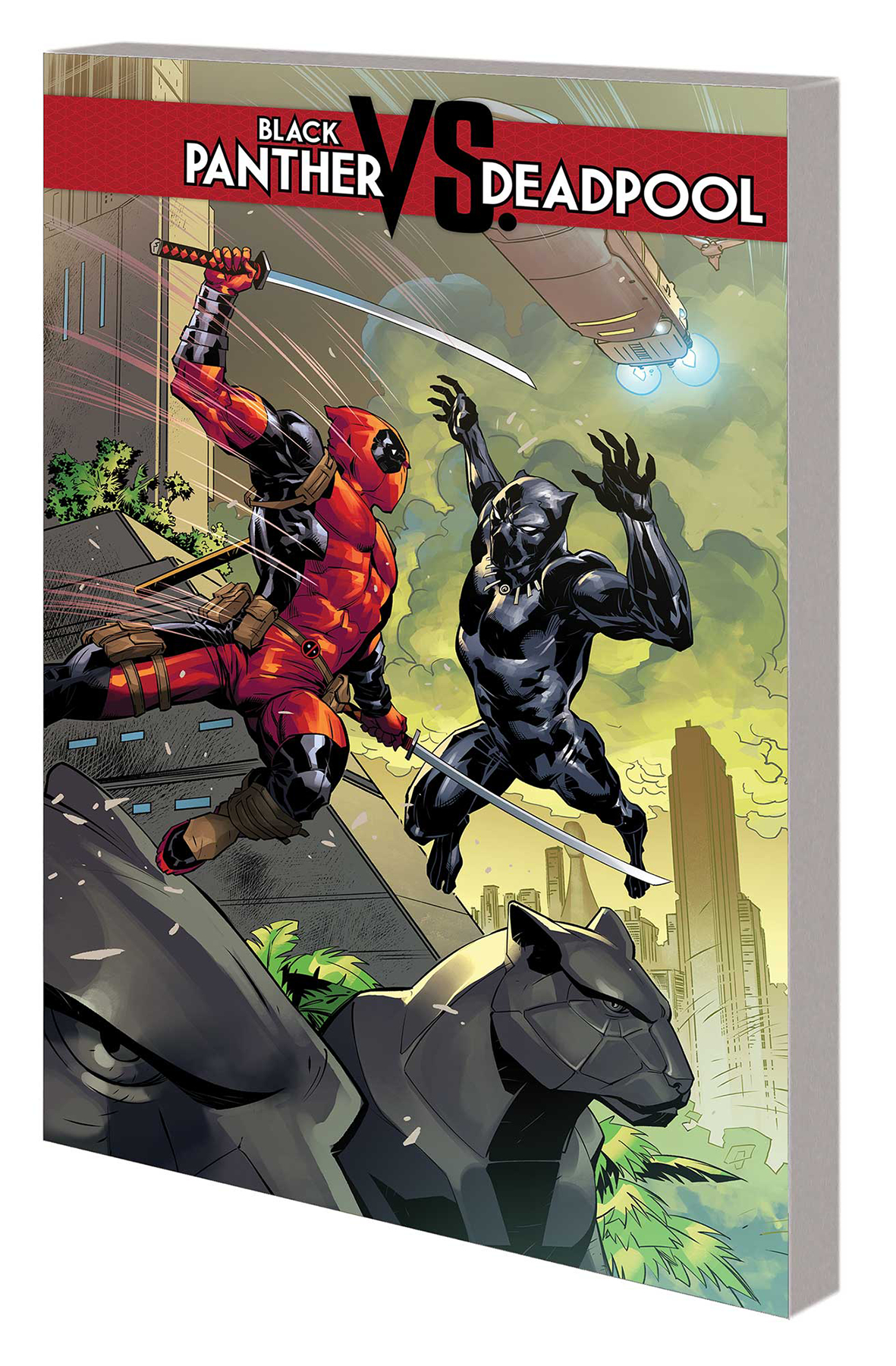 'Black Panther Vs. Deapdool Vol. I' - (W) Daniel Kibblesmith (A) Ricardo Lopez Ortiz (CA) Ryan Benjamin (Marvel, 2019)Deadpool has teamed up with, taken down or taken a beating from just about every hero in the Marvel Universe - and no way is the Black Panther going to miss his turn! Prepare yourself for a hilarious romp through Wakanda as Wade Wilson goes on the hunt for the world's most valuable resource: Vibranium!Collecting BLACK PANTHER VS. DEADPOOL #1-5 from Marvel.Available through mail order or digitally.