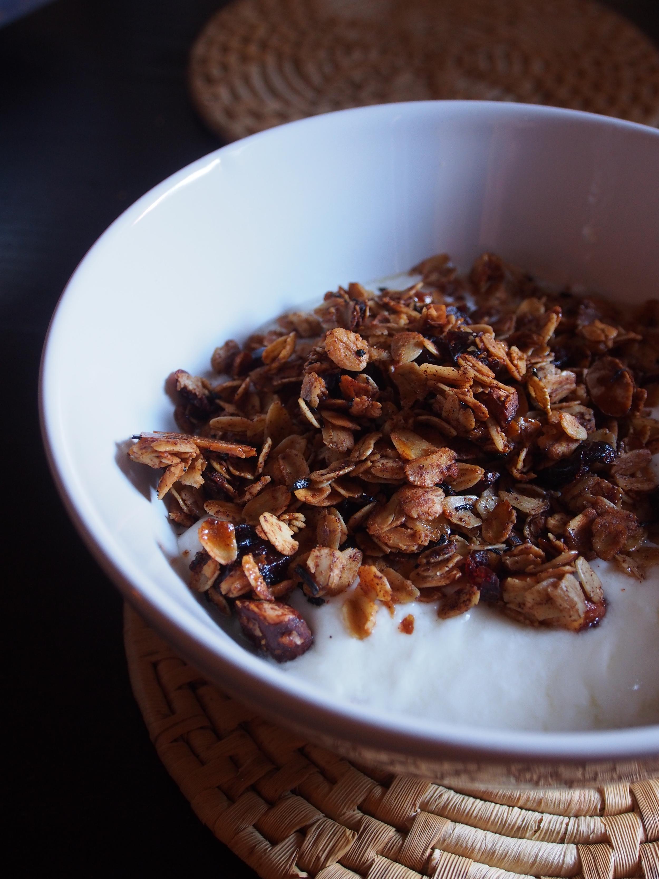 tea infused granola with yogurt
