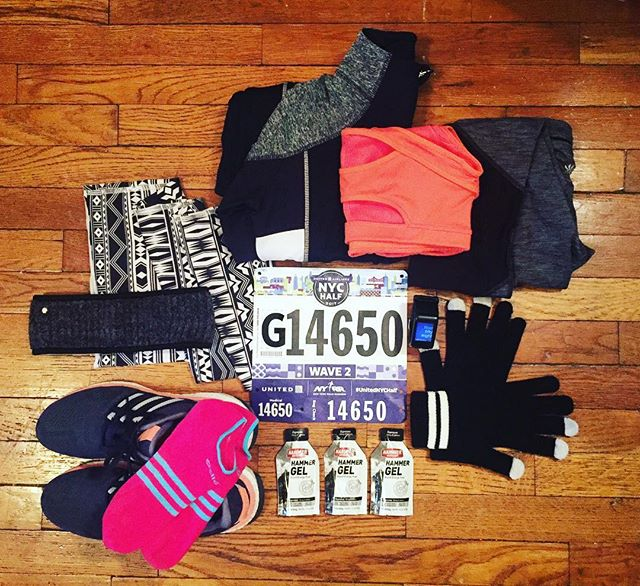 Realizing winter gear is not colorful.  In progress decisions for tomorrow's United NYC Half Marathon race day.  #3rdhalfmarathon #needtofindmorecolor #racegear #unitednychalf #nyrr #race #run #runner #running #instarunner