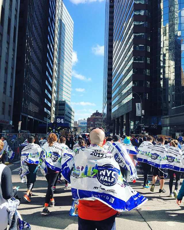 Look at all these foil caped superheroes who just finished!  United NYC Half Marathon 2017.  #superheroes #foilcapes #finisher #unitednychalf #halfmarathon #nyrr #run #runner #instarunner #running #thingsiseewhilerunning #nyc #winter #financialdistrict #skyscrapers #urban