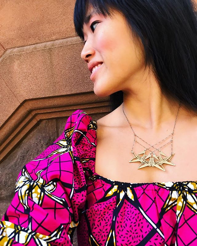 """Sending some summer love ❤️. Enter code """"SUMMERFUN"""" at checkout to save 25% all @nummynims orders from now until 9/15/2017! Start the long weekend right some retail goodies! """"4_rokoan"""" necklace pictured (Styled with my new dress from @theroyalnative). Jewelry available for purchase at link in bio ☝🏻️ or online at: www.nummynims.com  Be sure to follow nummynims on Instagram, Facebook, Twitter, Tumblr & the nummynims blog.  #summerlovin #summersale #sale #summertime #endlesssummer #nummynims #jewelry #accessories #necklace #design #designer #architect #pattern #fractal #architecture #beautiful #love #cool #style #fashion #royalnative #pink #ootd #instagood #instafashion #onlineshop #weekend #laborday #labordaysale #origami"""