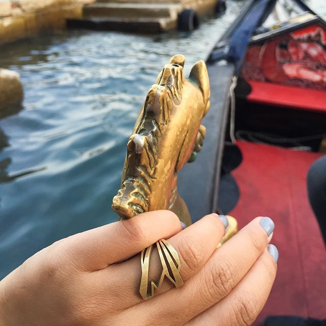 """25% off all @nummynims jewelry!  Let the shopping continue. Enter code """"GIVETHANKS"""" at checkout now thru 12/8/17. """"Heron"""" ring shown here in flashback to Venice trip.  Pieces available for purchase at link in bio ☝🏻️ or online at:  www.nummynims.com  Be sure to follow @nummynims on Instagram, Facebook, Twitter, Tumblr & the nummynims blog.  #nummynims #sale #thankyou #beautiful #handmade #jewelry #ring #modern #fbf #flashback #venice #venezia #italy #travel #gondola #dreaming #design #architect #love #creative #instagood #shopsmall #shopping #sogood #accessories #cool #heron #geometric #art #style"""