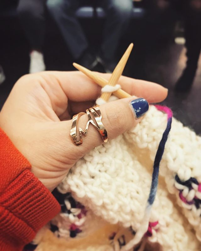 """@nummynims jewelry & knitting up a @weareknitters kit on the subway.  Good Morning everyone! """"Heron"""" ring in rose gold. Pieces available for purchase at link in bio ☝🏻️ or online at: www.nummynims.com  Be sure to follow nummynims on Instagram, Facebook, Twitter, Tumblr & the nummynims blog.  #goodmorning #cozy #knitting #nummynims #jewelry #ring #rosegold #gold #heron #bird #geometric #design #designer #architect #modern #beautiful #fashion #style #shopsmall #onlineshop #accessories #craft #knit #weareknitters #custom #cool #love"""
