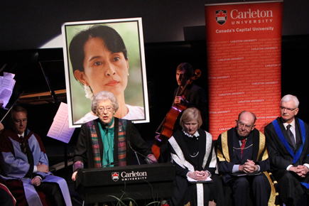 Continuing Carleton University's relationship to Burmese human rights, on February 22, 2011, Carletonawarded an honorary doctorate in absentia to Nobel Peace Prize Laureate and burmese activist Aung San Suu Kyi.  Photo: Carleton Newsroom