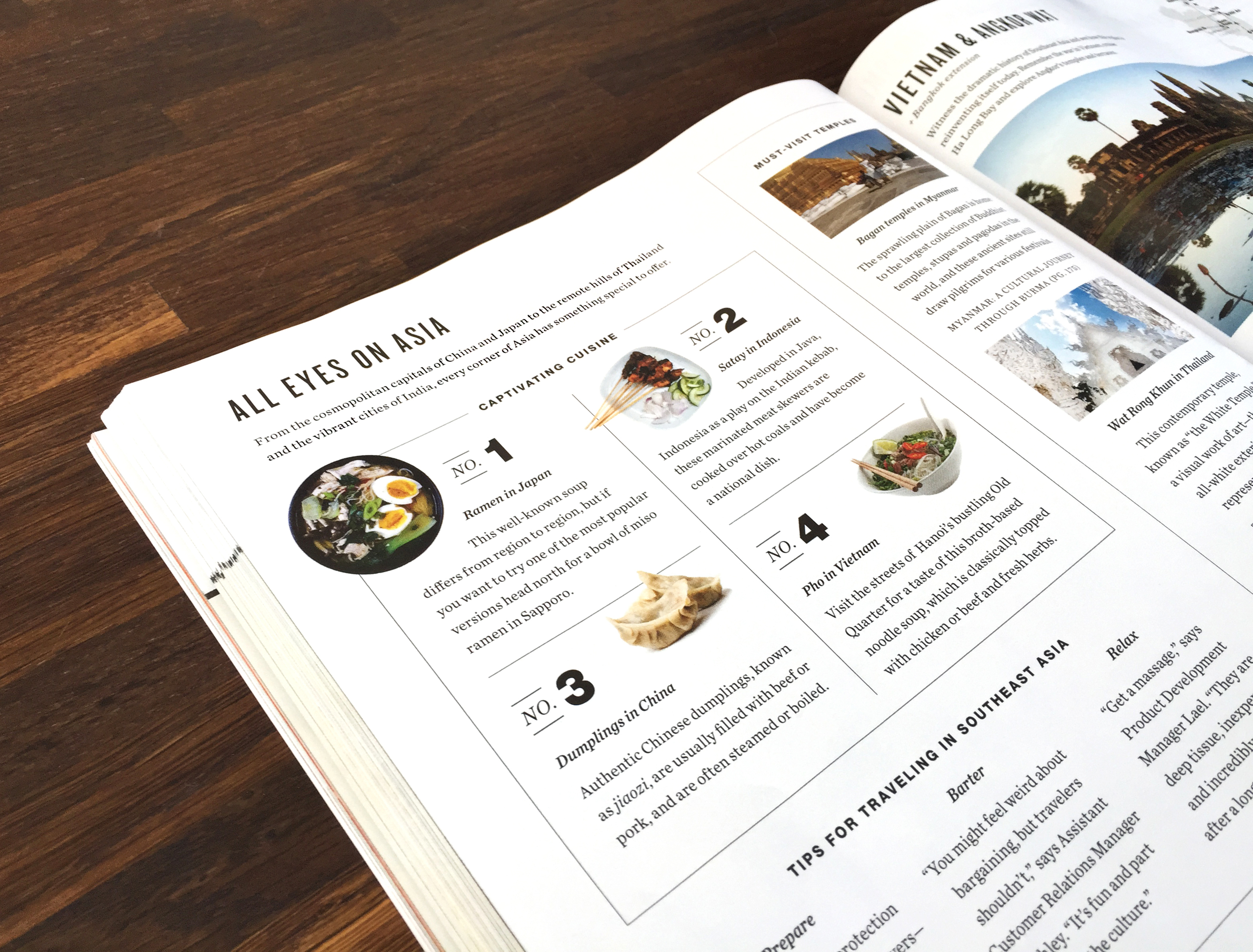 Editorial spreads for each region filled with staff travel tips, traveler content, and fun facts. Our customers can access additional information pertaining to each country on the  blog .