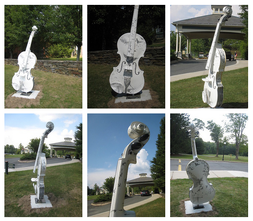 Acrylic paint on prefabricated fiberglass violin, 7', 2012