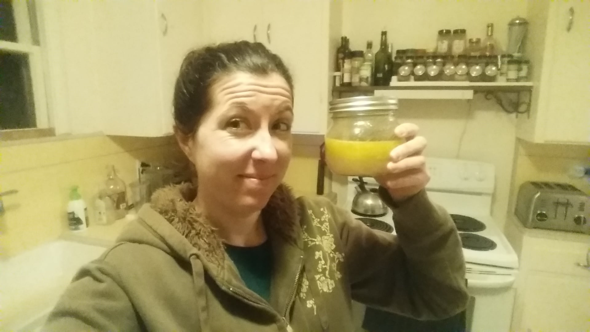 BOTTOMS UP!!   THIS IS THE GRAPEFRUIT/OLIVE OIL BLEND, AND IT'S NOT BAD!
