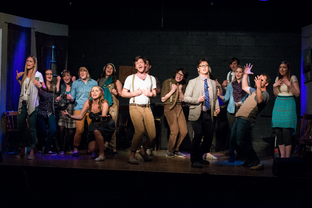 """Grace Aaseby, Ashley Moore, Andrew Wolfe, Canaan Kagay, and Mark Dunning (surrounded by a talented cast) starred in 'The Night of One Acts' premiere musical: """"It's Elementary"""" about Nashville's intentional community, set on saving the (first) world...one social media outlet at a time."""