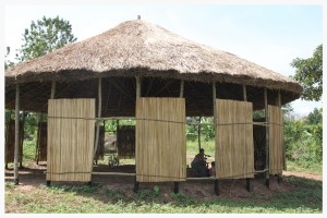 This temporary meeting structure provides a shaded structure for bible studies, children's education, and community events. It was built with the traditional architecture of the area (a round structure with a thatched roof).