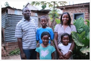 The Ssemakula family lives in central Uganda. Lawrence and Josephine have been married for 13 years and have 3 daughters: Quinn (top middle), Genesis (left) and Genevieve (right). Both Lawrence and Josephine are primary school teachers in Uganda.