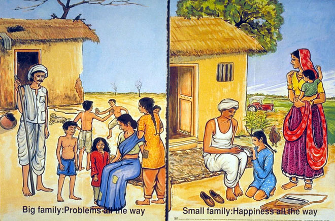 A common advertisement stressing the ideal family size (two children), versus the 'unhappiness' associated with large families. Advertisements like this are prevalent in the developing world.