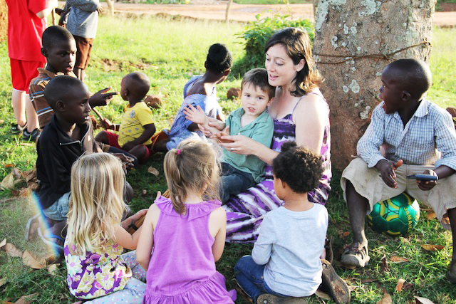 On her first Sunday night in Uganda, Kim Ownby lead a children's bible lesson time and sing-along for the children of the Sunday Night Bible Study.