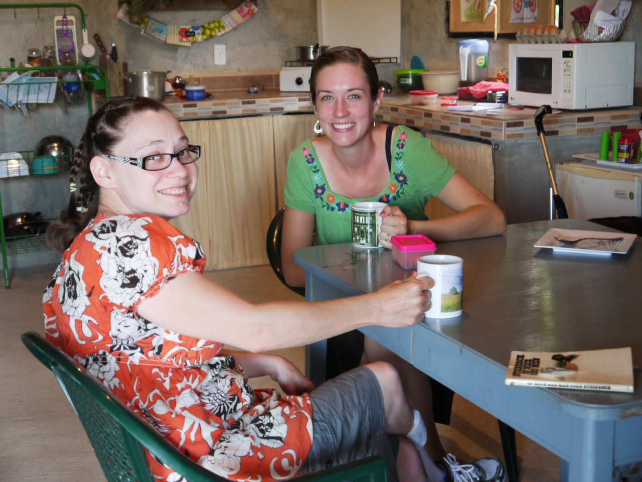 Kristy enjoys coffee with Anna Reyes, another G.O.D. Int'l representative in El Salvador, as they discuss areas in which Kristy can serve.