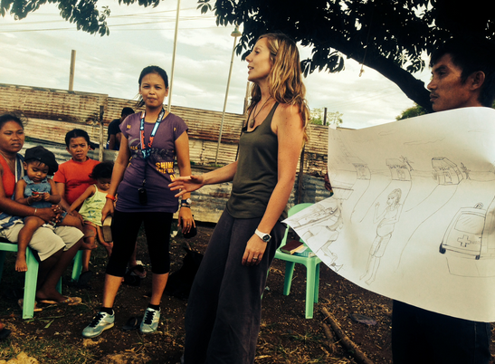 Meg Mathews is a graduate of the Childbirth Education program, and part of the South East Asia maternal health team. She is developing a speciality in lactation consultation. During her time abroad she counseled over 20 women in breastfeeding issues. Here, she educates a rural group on concerns facing pregnant women as they approach childbirth.