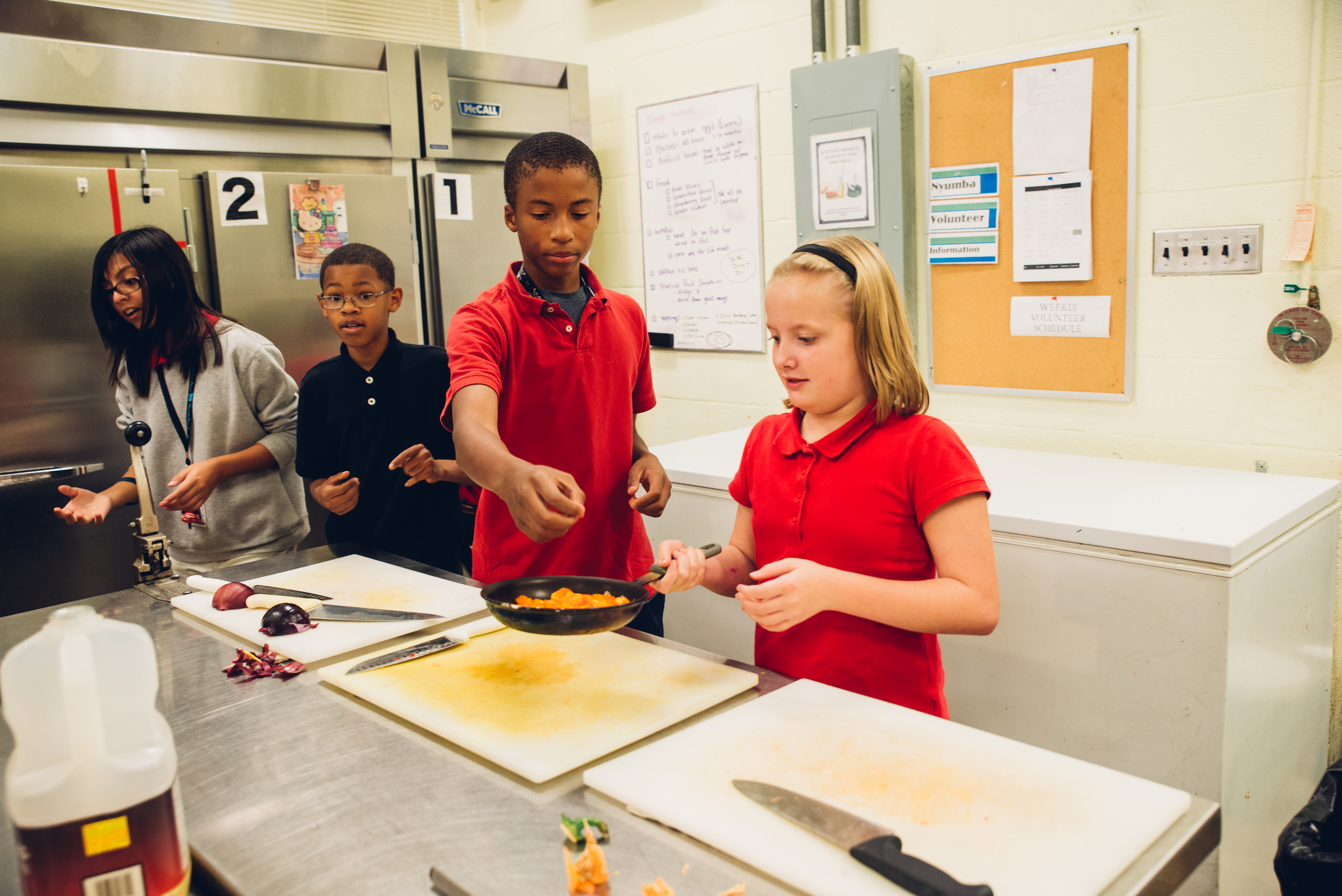 Javias and Dana work together during cooking class. One of the major goals of CASE is to teach the students teamwork in their activities.