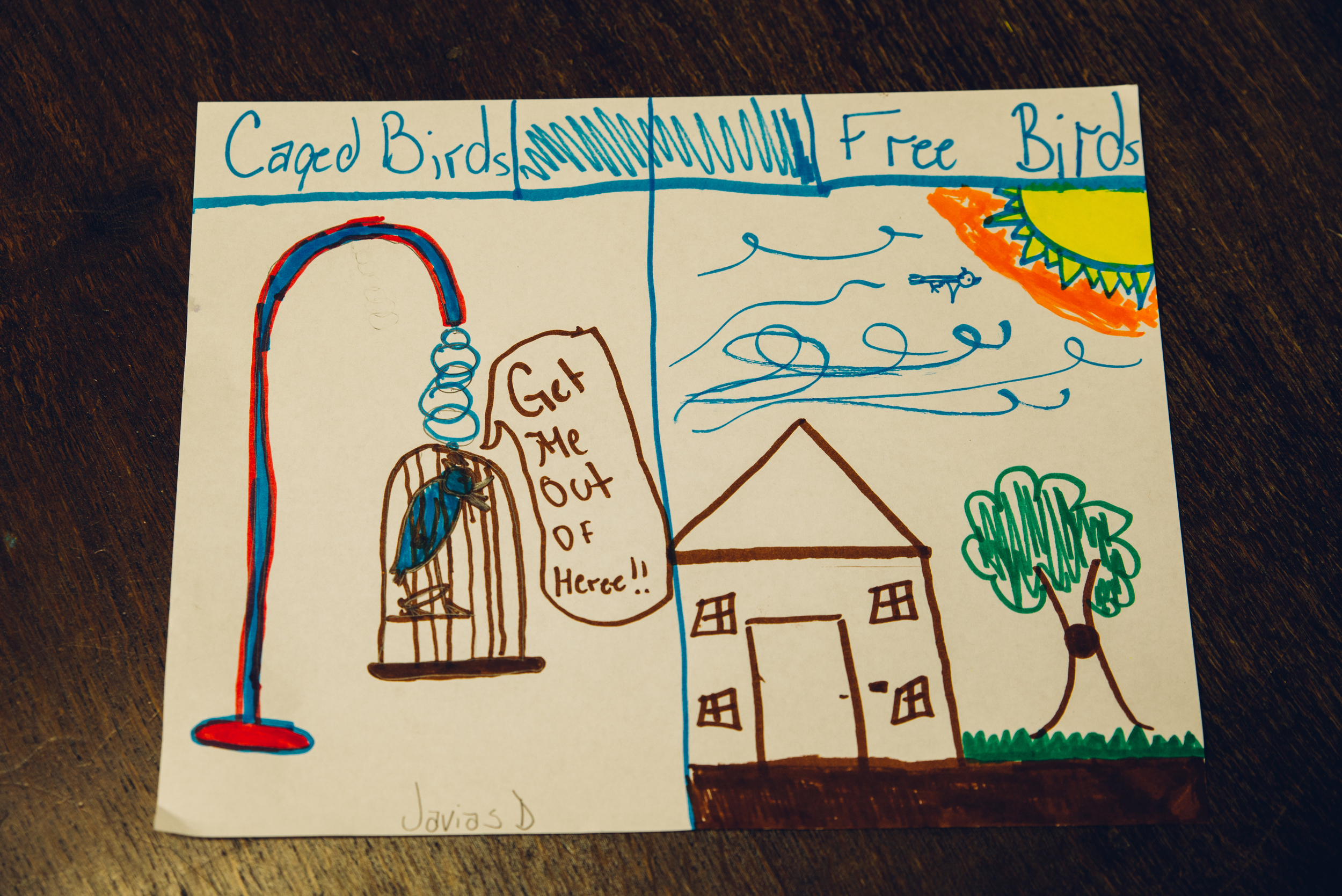 "During a literacy activity, students were encouraged to visually depict the metaphors found within the poem, ""I Know Why the Caged Bird Sings"" by Maya Angelou."