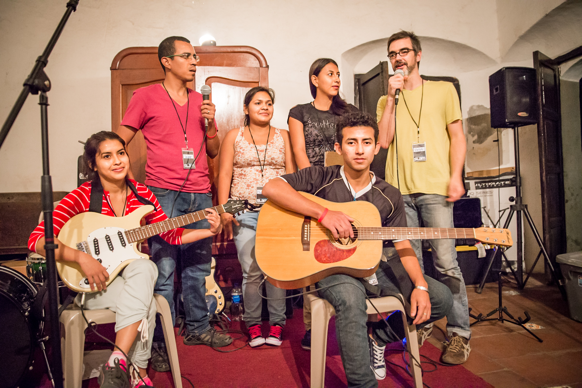 During the music seminar in El Salvador in December, Britt Edwards instructed the students in songwriting and guitar. Here, he and his students, who had never even touched a guitar before, performed, and later recorded the song they wrote.