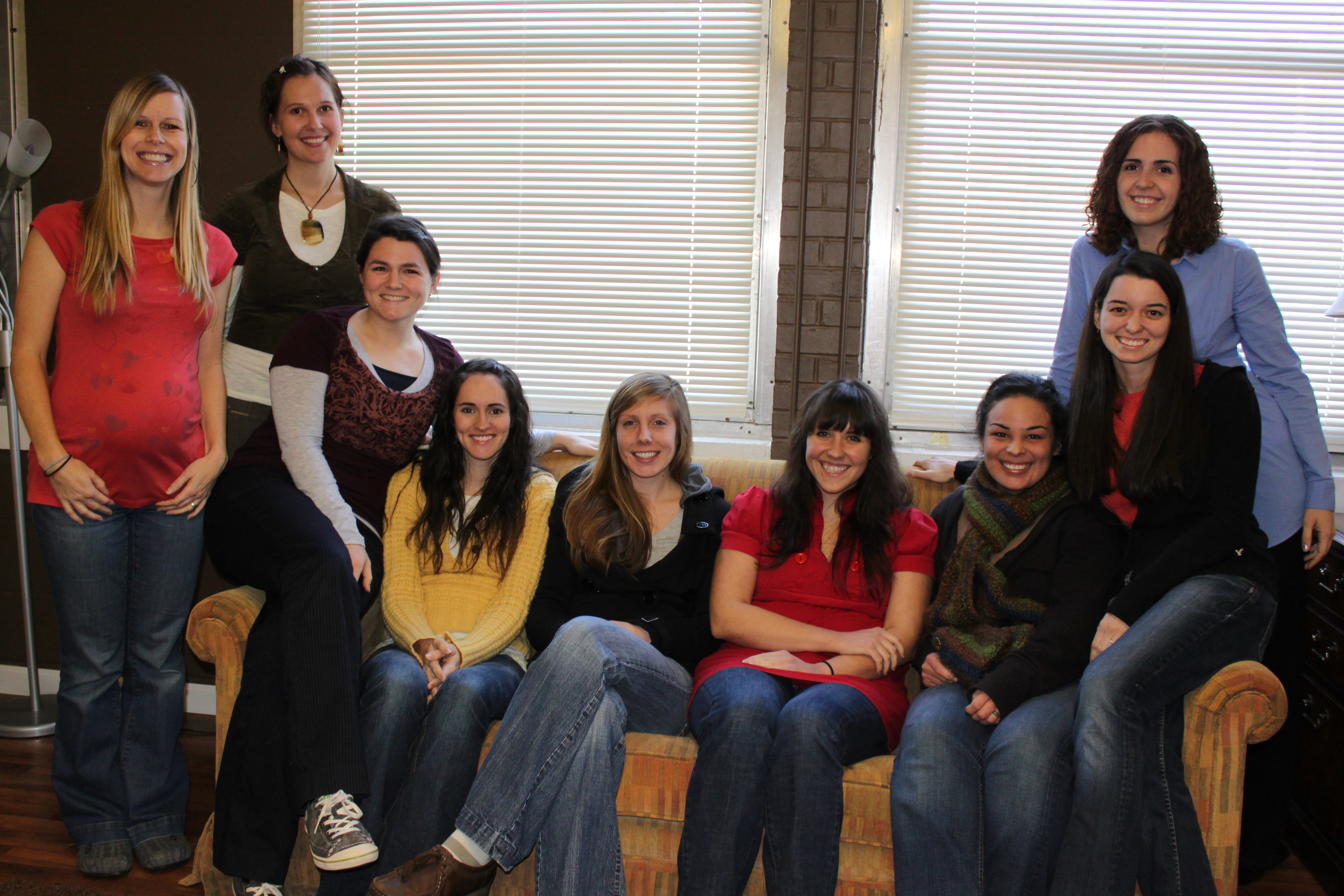 The Childbirth Education class of 2011 with their teachers, from left to right: Tara Garner (teacher), Kristina Davis (teacher), Elise Buckner, Tori Roufs, Meg Mathews, Megan Fleeman, Deb Nava, Jodi Thress, and Celesta Bargatze (teacher).  (Not pictured: Kathryn Montgomery and Michelle Madron).