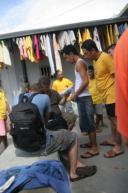 Mike Garner and Chris Cameron distribute basic necessities to inmates in another prison in the Philippines. Often, inmates don't have clean undergarments, toothbrushes, or blankets. Our representatives in the Philippines have consistently met needs like these for prisoners.