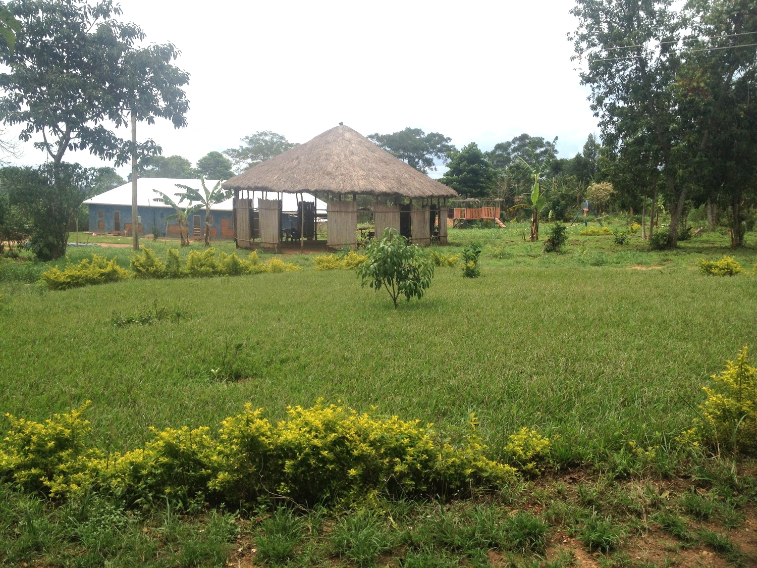 This is the G.O.D. property in Uganda, located outside of Kampala, on seven acres. The structure is where all large meetings, bible studies, and seminars occur.