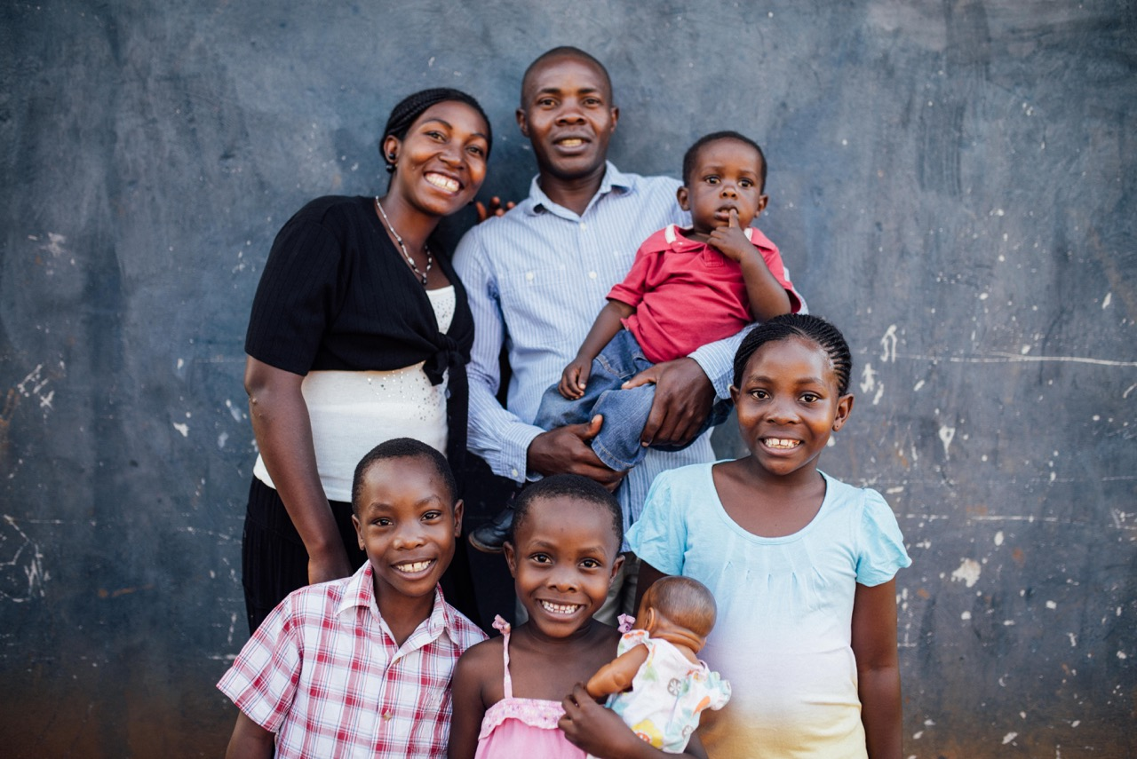 Francis and Annette Lubega, with children Micah (in hand), Victor, Rachel and Rebekah (left to right).