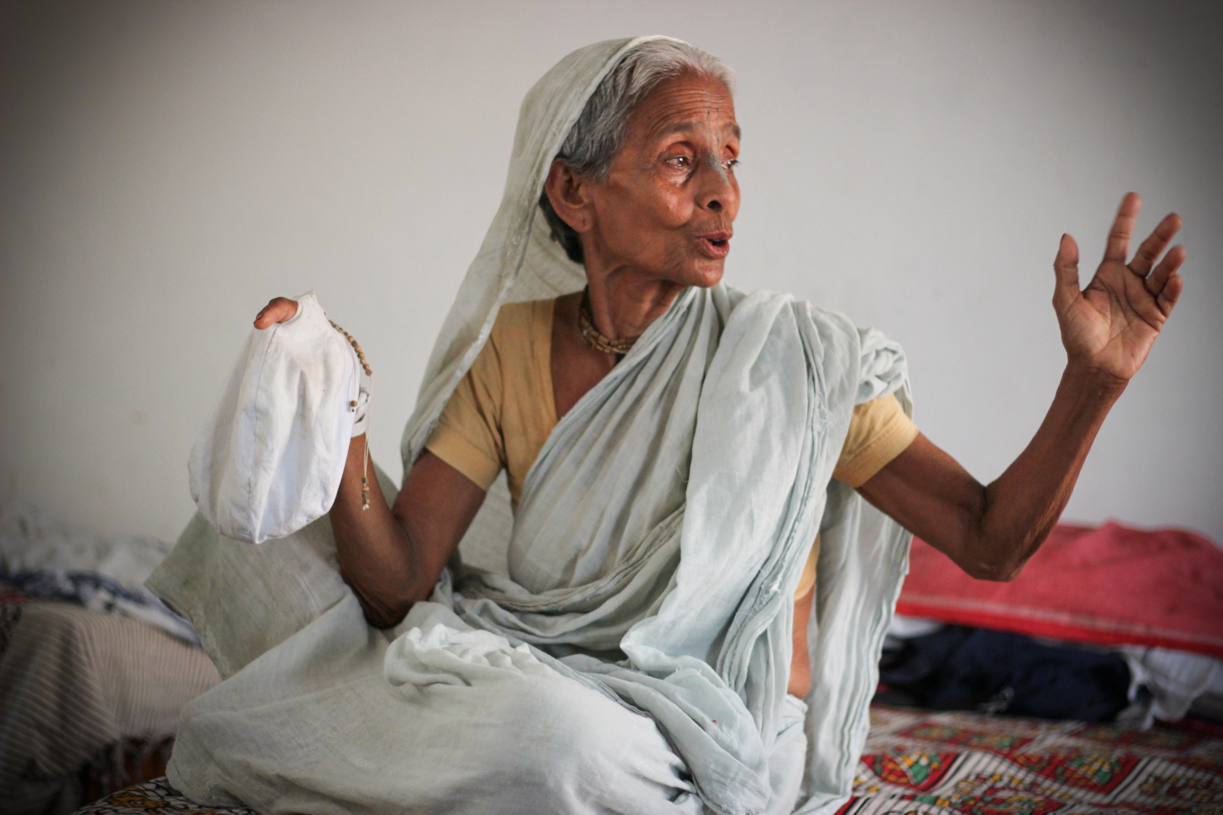A widow in the holy city of Vrindavan shares her story. She, like so many others, was abandoned by her children, her property and security stolen after her husband died. She is uneducated and alone, resigned to a life of monotonous piety and suffering.