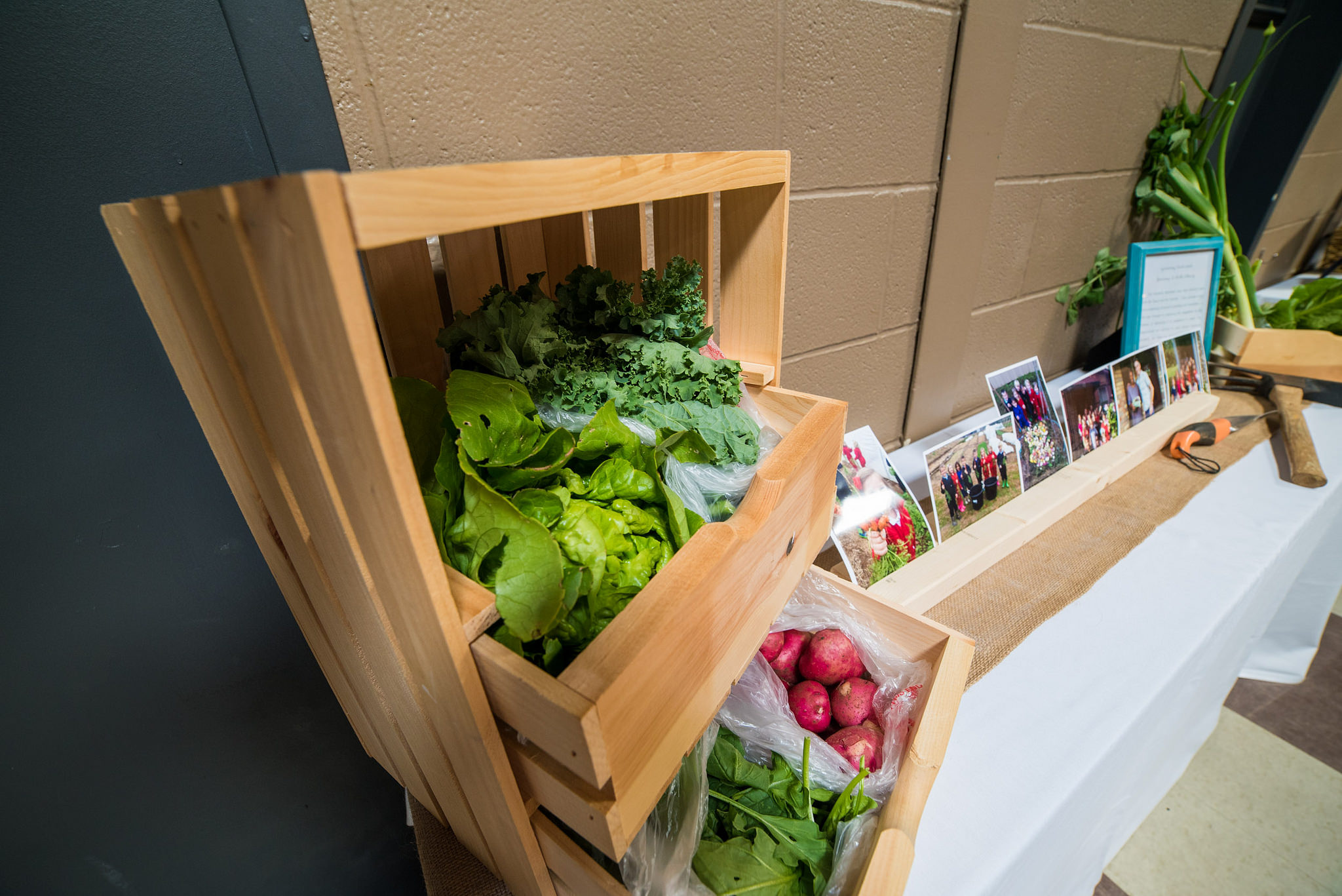 Some of the produce harvested by students at the Academy for G.O.D. was showcased for visitors.